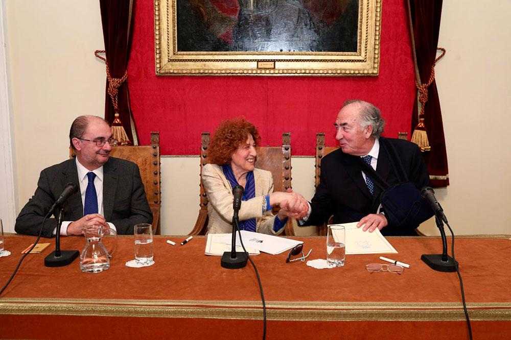 Javier Lambán, Carmen Iglesias y Amado Franco Lahoz